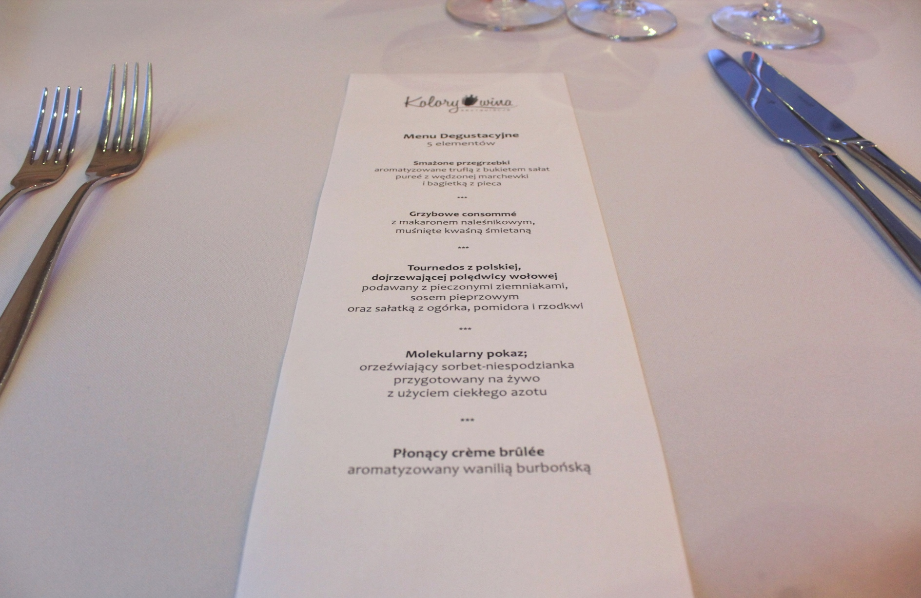 Menu degustacyjne Kolory wina Hotel Nobo 4 Senses.TV